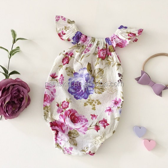 Floral baby clothes romper whole sale baby clothing apparel for new born