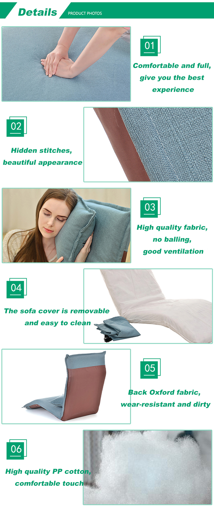 Modern Folding Single Chair Sofa Bed European Style Lazy Sofa for Living Room Furniture Recliner floor Sofa Chair