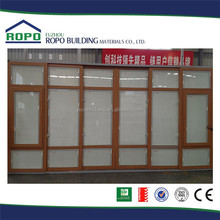 UPVC wood color 6 panels sliding glass door with grills