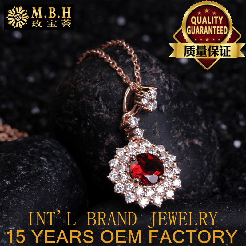 newest 925sterling silver plated 18K gold inlay natural red garnet ring pendant necklace jewellery set wholesale fashion jewelry