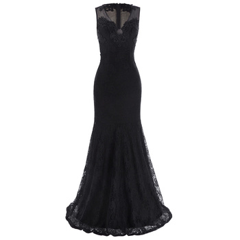 Kate Kasin Sleeveless V-Neck See-Through Back Lace Black Evening Gown Prom Party Dress KK001047-1