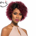 hair factory wholesale Brazilian virgin human hair ombre two tone color short curly half hand tied lace fornt wigs for women
