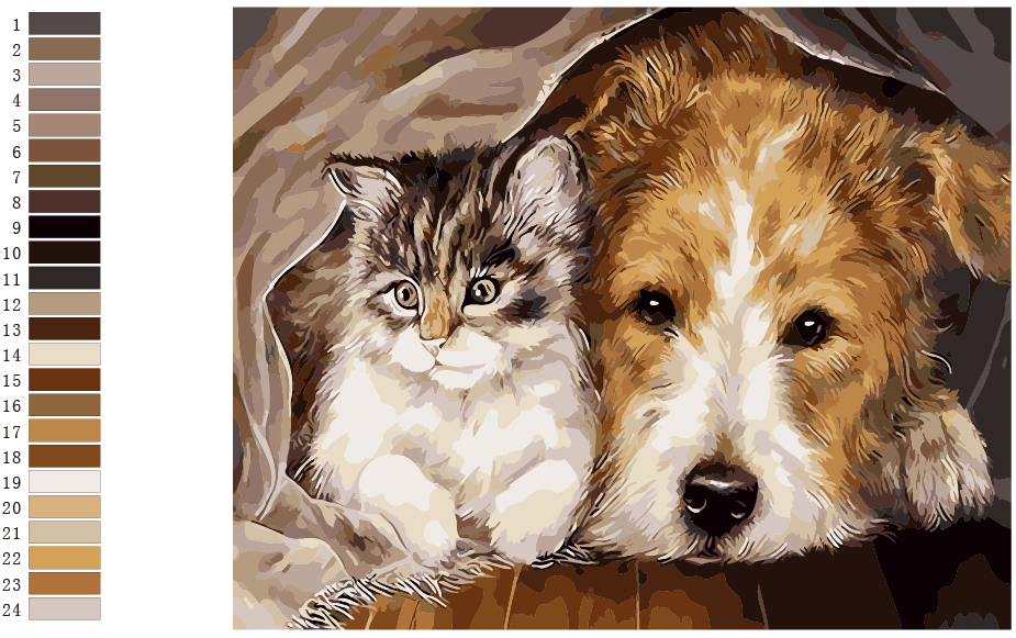 Cat and Dog Painting By Numbers Home Decor For Living Room DIY Digital Canvas Oil Painting Wall Art