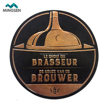 No MOQ custom die cut round irregualr shape 3d embossed beer metal art pub tin sign