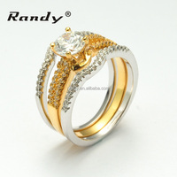New Fashion Engagement Wedding Men Gay Ring Three Circle ,Two White And One Gold Ring Combine