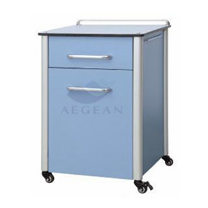 One drawer and one door with handle bottom price hospital bedside cabinet