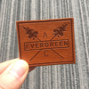 Emboss leather tags / brand logo leather labels / custom brand metal plate logo leather patch
