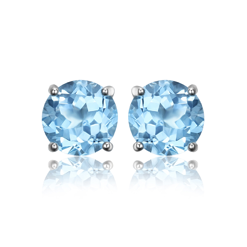 ewelryPalace Round 2ct Natural Sky Blue Topaz Birthstone Stud Earrings Solid 925 Sterling Silver Earrings Gemstone Jewelry