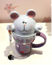 Customized little rat shaped ceramic coffee mug with lid and handle