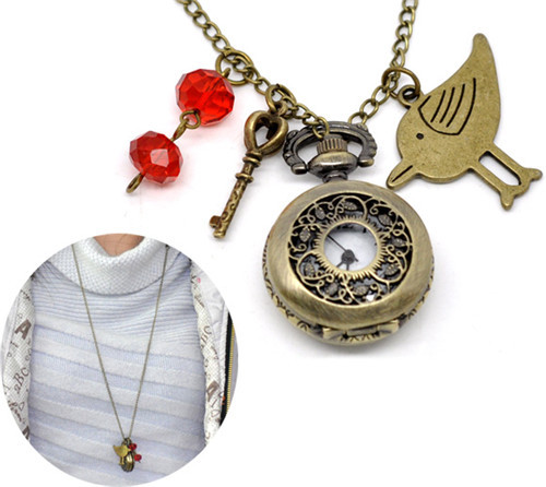 Handmade Antique Bronze Pocket Watch Necklace W/Bird Charm Pendant (80cm)