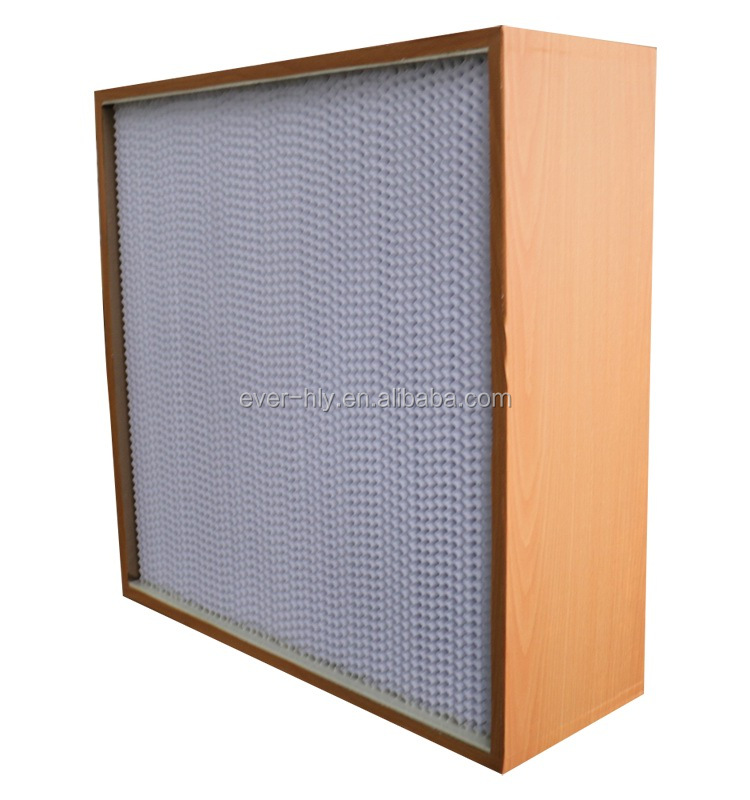 Wooden frame separator deep-pleat hepa air filter