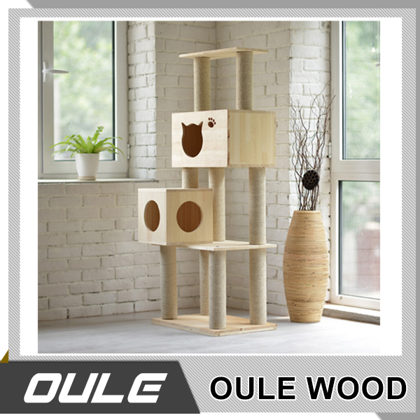 Custom High Quality Indoor Cat Tree Wood Cat House