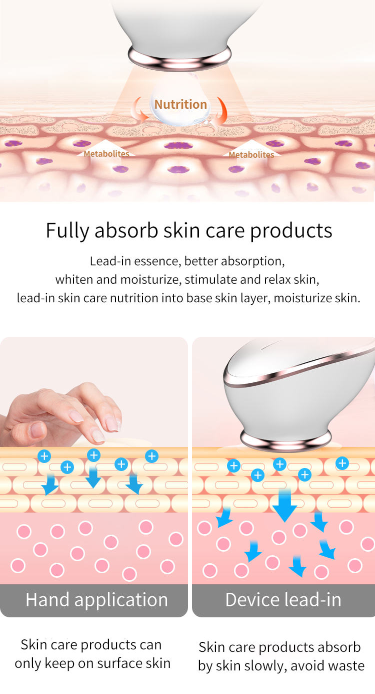 45 Degree Heat High Frequency Vibration Facial Essence Applicator Massager Silicone Face Washing Brush