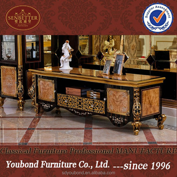 Attirant 0061 European Luxury Style Living Cabinet, Golden Wood Carved Tv Stand
