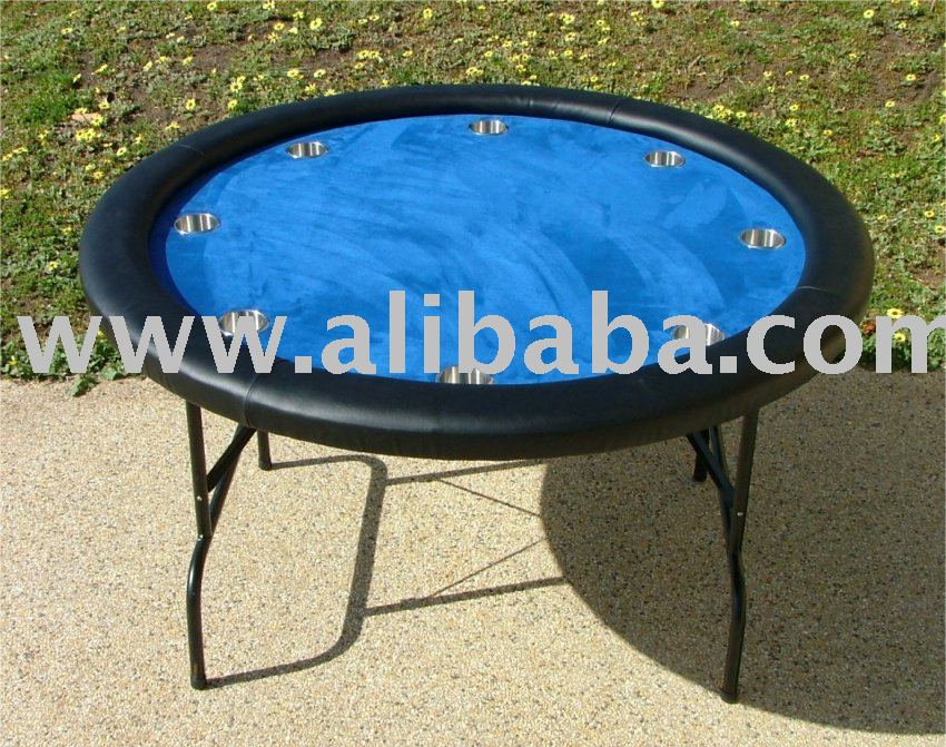 "Premium 52"" Round Blue Poker Table w / Jumbo Stainless Steel Cups"