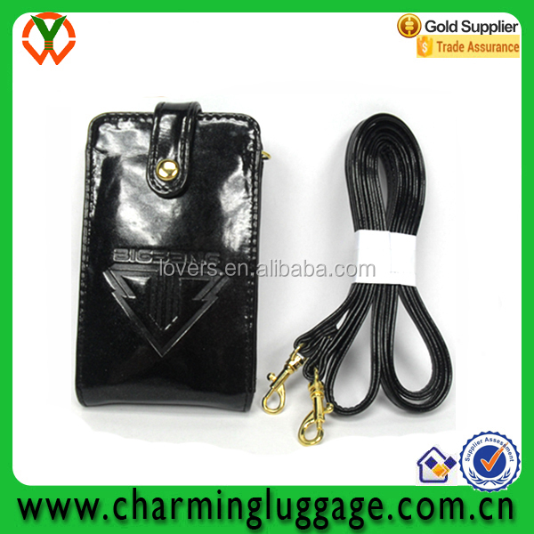 Black Leather Wallet Mobile Phone Cover / Hanging Cell Phone Pouch