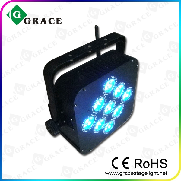 RGBWA UV 6in1 led wireless uplighting, 9x18w led up light, flat parcan led wedding light
