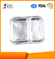 Two compartment Disposable Aluminum Foil Trays with Low MOQS