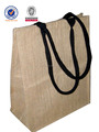 high quality fashion jute bag with black soft handle