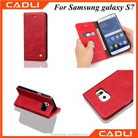 in stock red Leather Wallet Book Stand Phone Case for Samsung Galaxy S7