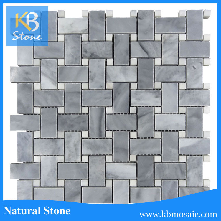 "12""<strong>X12</strong>""X3/8"" Polished Italian Bardiglio Gray Marble Mosaic Basketweave With White Dots"