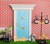 Doll house Fairy Door Wood Painted Exterior Door W/ Hardware Yorktown Door_blue OA011D-2