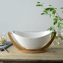 Bamboo kitchenware boat shape Hanging white Ceramics salad bowl with Stand