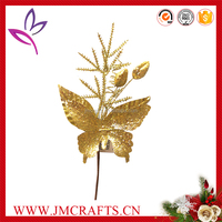 Golden artificial glitter Christmas butterfly pick for Christmas decoration
