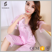 Comfortable smooth short sleeve Silk women new sexy nighty design