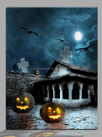 Halloween polyester led canvas prints wall art painting