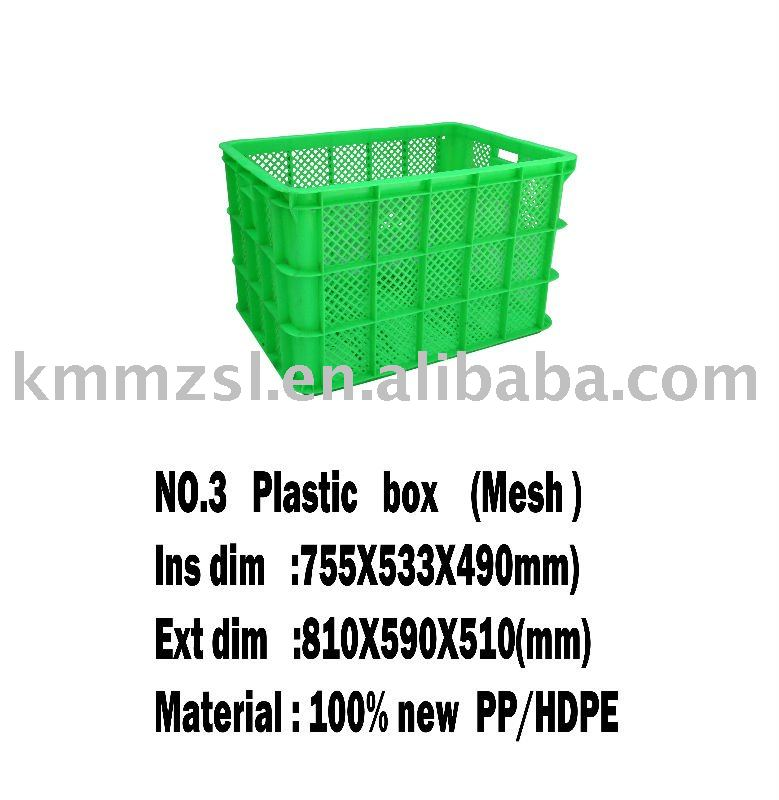 100% new pp/hdpe NO.3 Plastic box(Mesh) packaging box