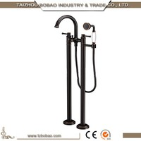 Outdoor Bath Set Double Handle Bathtub Black Shower Faucet Stand