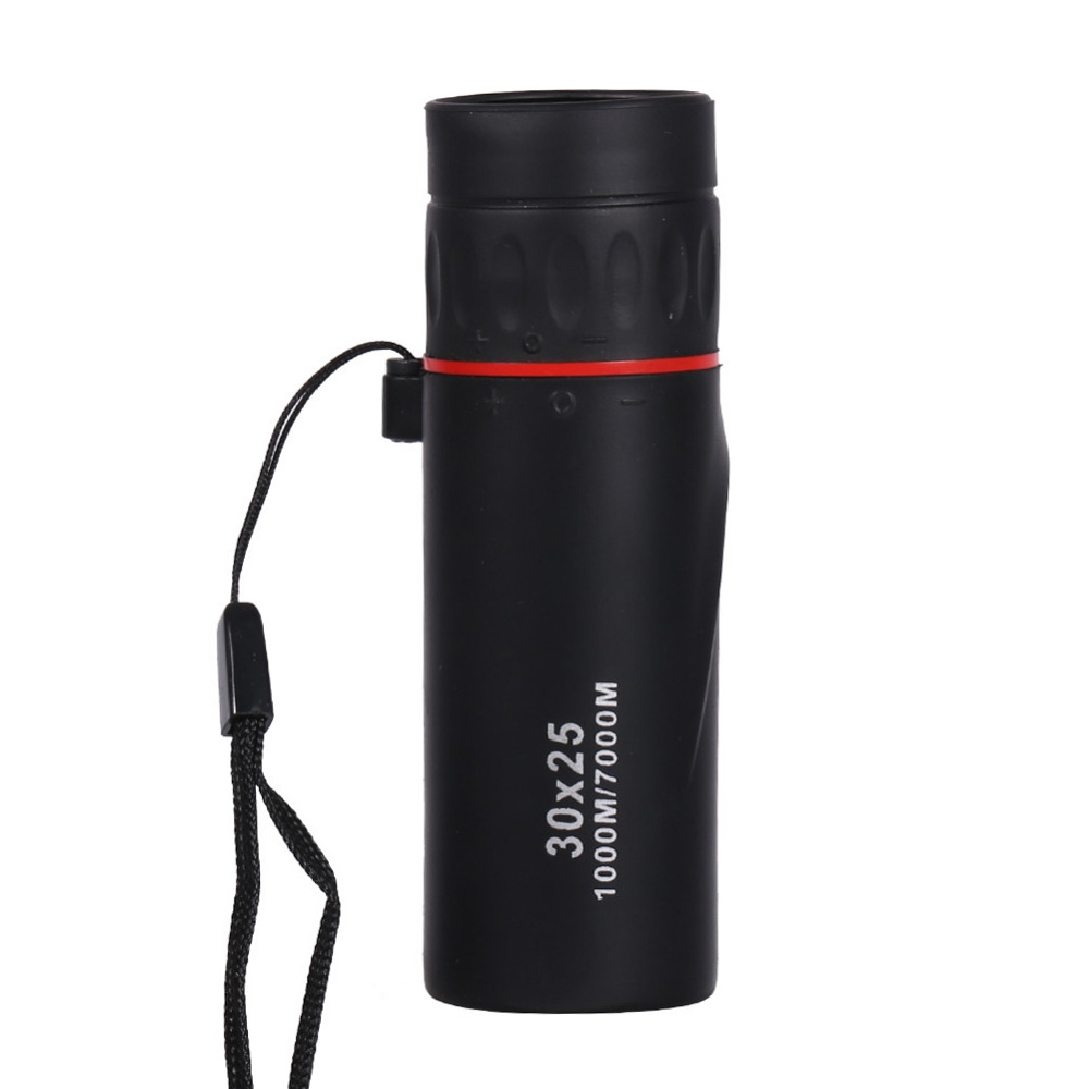 Black 30 x 25 HD Optical Monocular Waterproof Portable Focus Telescope Zoomable 10X Scope for Travel Hunting
