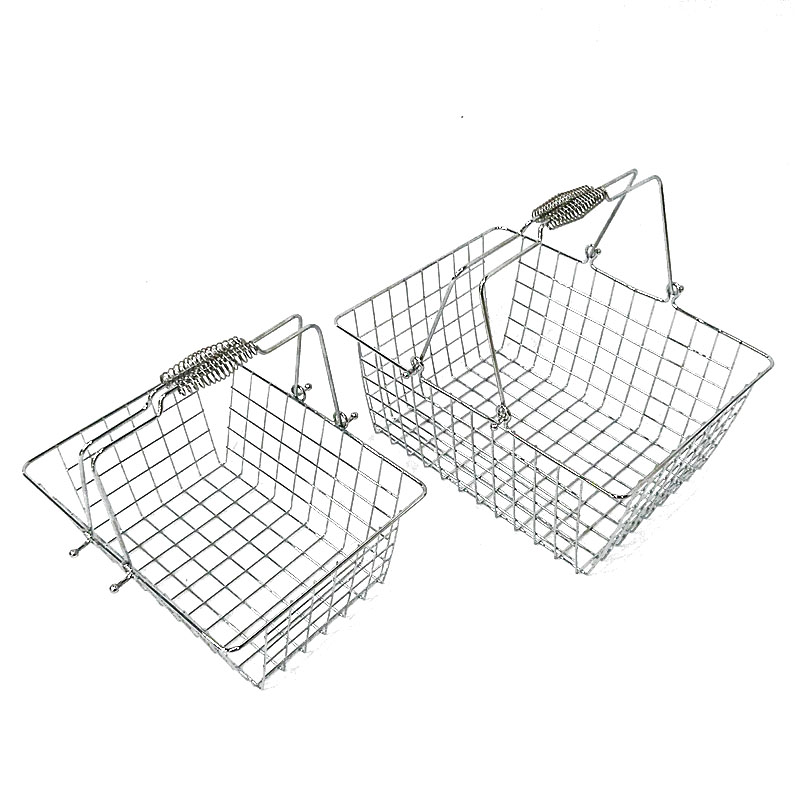 Convenient Double Handles Square Chromed Cosmetic Metal Shopping Basket