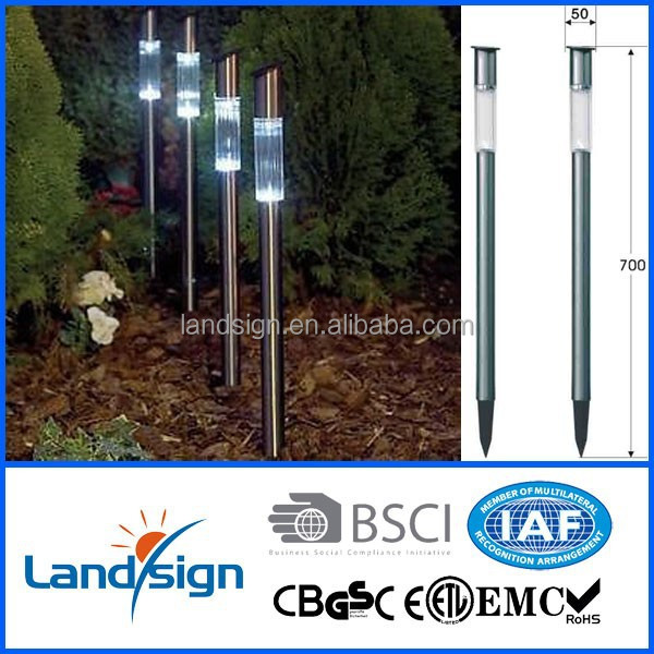 XLTD-360 Cixi landsign wholesale CE/ROHS stainless steel color changing solar bollard light outdoor solar led lawn garden light