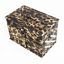Empty leopard print cosmetic display container makeup travel boxes dressing cases
