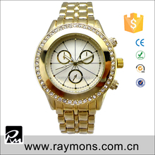Newest fashion custom stainless steel 22k gold watch with butterfly print