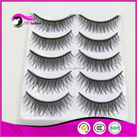 Cheap Wholesale 5 Pairs Synthetic Fake Lashes Strips Faux Mink Fur False Eyelashes