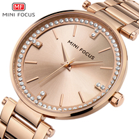 MINI FOCUS 0031 Rose Gold Ladies Stainless Steel Clock Quartz Wristwatch Women Diamond Wrist Watch