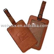 Wholesale leather fashion luggage tag in brown