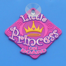 Novelty Car Window PVC Rubber Sucker Designer Princess On Board - Rose Red Color