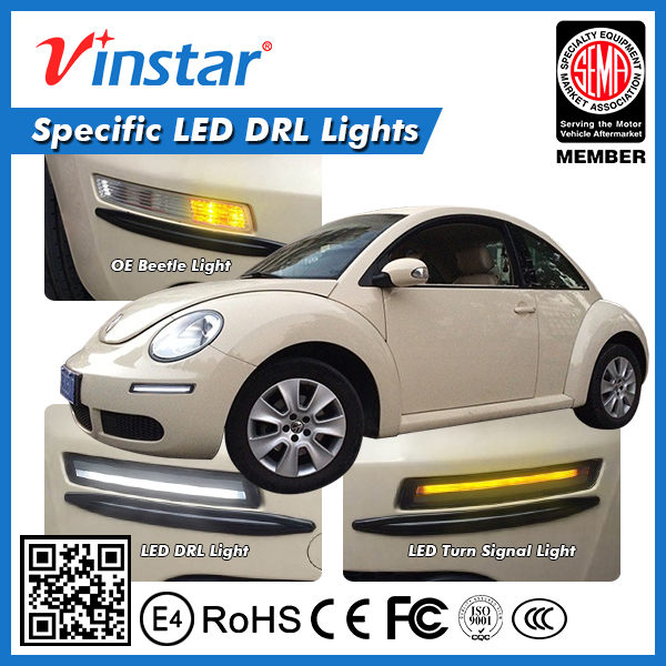 2x LED DRL Daytime Running Lights+Yellow Turn Signal For VW Beetle 2006 ~ 2010