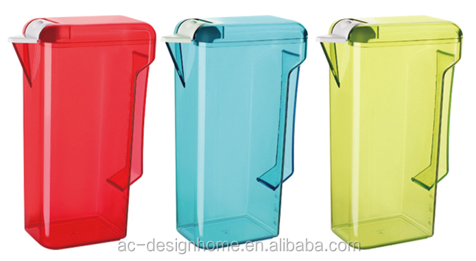 RED, TURQUOISE, LIME GREEN, ORANGE 1.6L RECTANGULAR AS PLASTIC WATER PITCHER W/LID & SPOUT