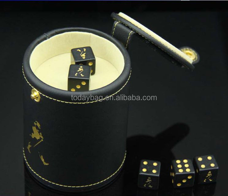 New Casino Leather Dice Cup Shaker Craps Cubilete 5 dice with Storage