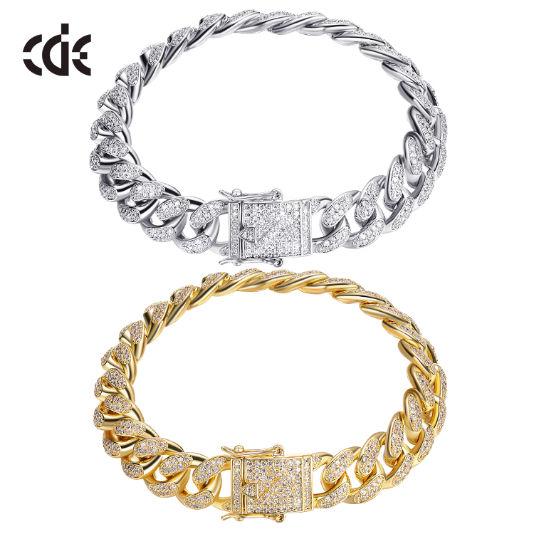 ODM OEM men bracelet factory bulk custom 7 8 9 inches cubic zirconia diamond miami cuban link 14K 18K gold chain