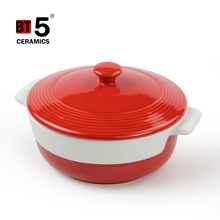 Double handles round ceramic kitchen cookware cocotte for microwave