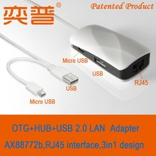 OTG Cable & USB2.0 to RJ45 Ethernet adapter for Chromebook Pixel