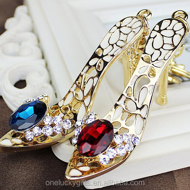 High heels shaped keychain rhinestone women shoe keychain high heels keyring gift
