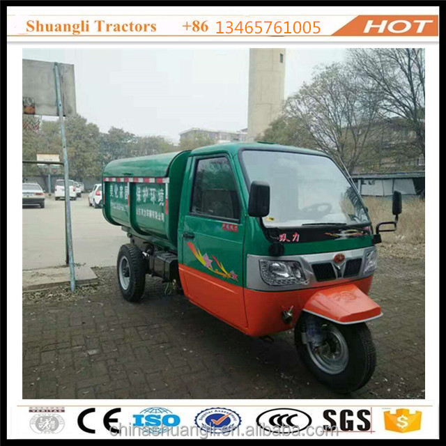 China closed cabin passenger diesel garbage removal tricycle for adult