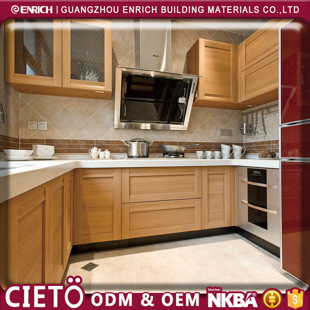 Professional manufacturer affordable Modern Bamboo grain HPL hotel home kitchen cabinets